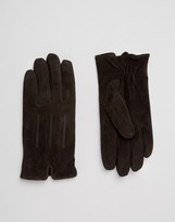 Barney's Originals Barneys Casual Suede Gloves in Brown