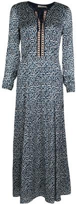 Tory Burch Navy Blue and White Honeycomb Pattern Printed Silk Jacquard Maxi Dress S