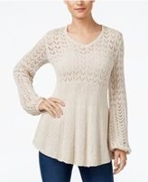 Style&Co. Style & Co Pointelle Bishop-Sleeve Sweater, Only at Macy's