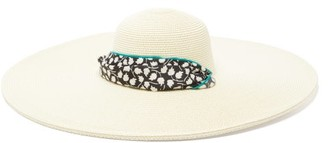 Avenue The Label - Azzurra Floral-ties Straw Hat - Womens - Black And White