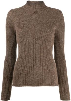 Courreges Chevron-Ribbed Mock Neck Sweater