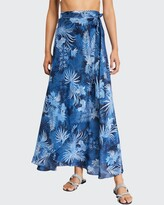 Thumbnail for your product : MARIE FRANCE VAN DAMME Printed Silk Wrap Coverup Skirt
