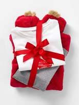 Girls' 3-Piece Pyjamas - red bright solid with desig