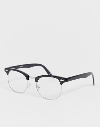 clear ASOS DESIGN retro glasses in black with lens