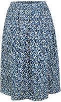 Fat Face Effie Jacquard Floral Skirt, Navy