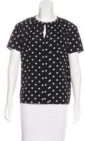 Carolina Herrera Silk-Blend Polka Dot Top