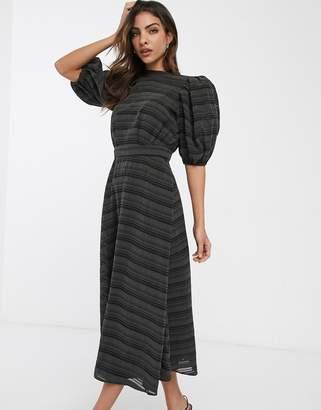Asos Design DESIGN premium organza stripe midi dress with puff sleeves-Green