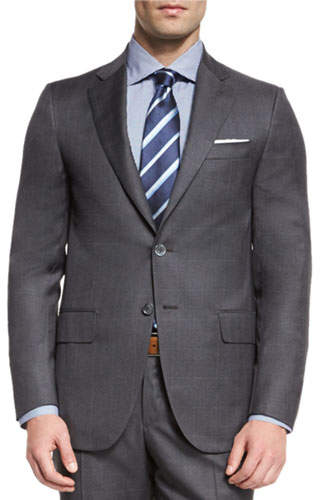 Isaia Super 130s Tonal Plaid Wool Two-Piece Suit, Gray