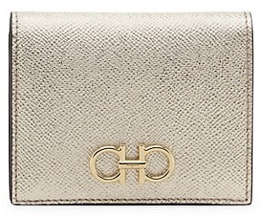Salvatore Ferragamo Gancini Bi-Fold Metallic Leather Wallet
