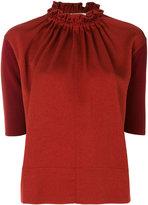 Marni ruffle neck top - women - Polyester/Acetate/Virgin Wool - 42