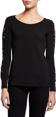 Anatomie Kiara Long-Sleeve Jersey Top w/ Golden Sleeve Details