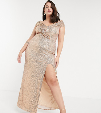 Jaded Rose Plus exclusive sequin maxi dress with drape shoulder in gold