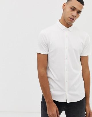 Emporio Armani slim fit short sleeve shirt in white