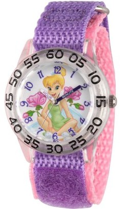 Disney Tinker Bell Girls' Clear Plastic Time Teacher Watch, Purple Hook-and-Loop Nylon Strap with Pink Backing