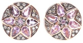 Ileana Makri Deco Flower 18kt Rose Gold Stud Earrings With Pink Sapphires And Brown Diamonds