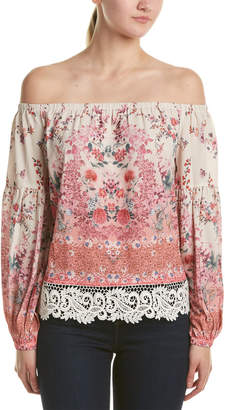 Champagne & Strawberry Off-The-Shoulder Blouse