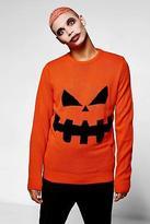 boohoo Mens Halloween Pumpkin Crew Neck Jumper in Orange size S