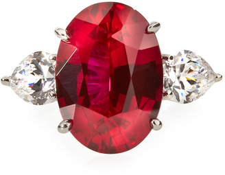 FANTASIA Red & White CZ Crystal Ring, Size 7