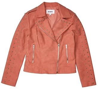 BB Dakota True Stud Nubuck Vegan Leather Jacket (Terracotta) Women's Clothing