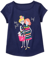 Gymboree Bulldozer Blue & Pink 'Hey Girl' Tee - Girls