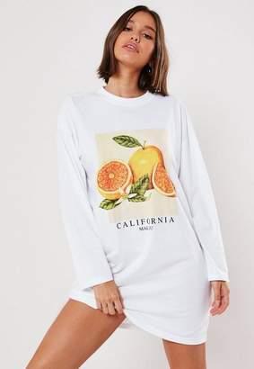 Missguided White Oversized Lemon Graphic T Shirt Dress