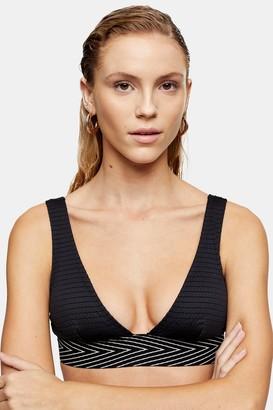 Topshop Womens Black Shirred Elastic Triangle Bikini Top - Black