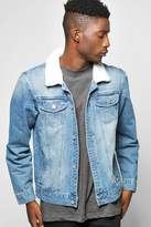 boohoo Borg Collar Denim Jacket blue