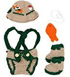 Jastore Baby Newborn Photography Prop Crochet Fisherman Costume Hat Diaper Shoes