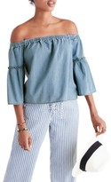 Madewell Women's Azalea Denim Off The Shoulder Top