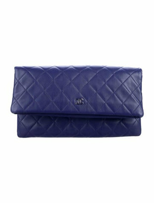 Chanel Quilted Beauty CC Clutch silver