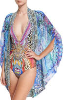 Camilla Open-Front Embellished Silk Cardigan/Cape Coverup, One Size