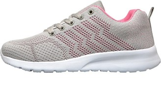 Board Angels Womens Fly Knit Trainers Light Grey/Pink