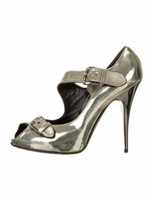 Giuseppe Zanotti Leather Peep-Toe Sandals Silver