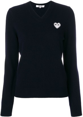 Comme des Garcons V-neck logo patch top