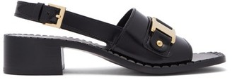 Prada Chain-front Leather Slingback Heeled Sandals - Black