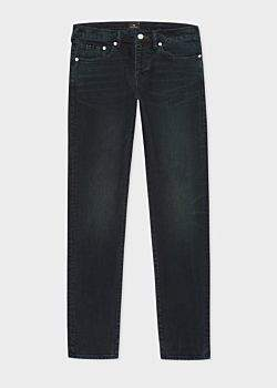 Men's Tapered-Fit 'Crosshatch Stretch' Navy Over-Dye Jeans