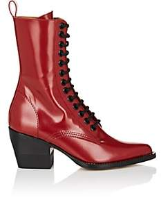 Chloé Women's Spazzolato Leather Lace-Up Ankle Boots-Red