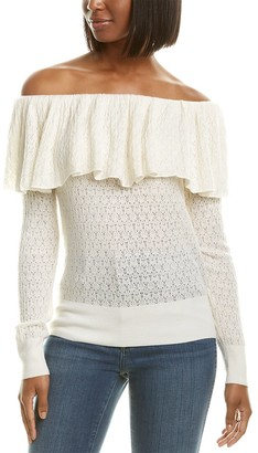 Tanya Taylor Pointelle Lace Wool-Blend Sweater