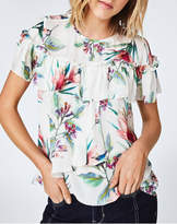 Nicole Miller Floral Ruffle Top
