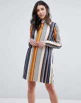Vila Striped High Neck Shift Dress