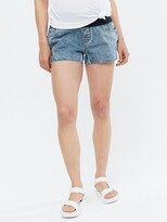 Thumbnail for your product : New Look Maternity Under Bump Denim Shorts - Mid Blue