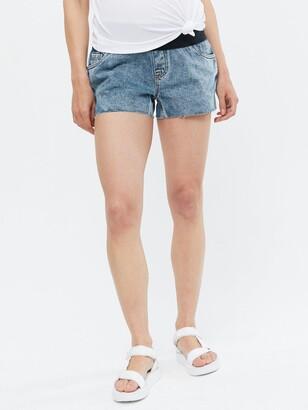 New Look Maternity Under Bump Denim Shorts - Mid Blue