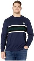 Lacoste Long Sleeve Heavy Jersey Bold Stripe/Color Block T-Shirt Regular (Navy Blue/Flour/Black/Sinople) Men's Clothing