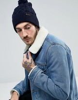 Barbour Wool Cable Knit Bobble Beanie In Navy