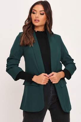 I SAW IT FIRST Emerald Green Ruched 3/4 Sleeve Blazer