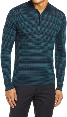 John Smedley Slim Fit Stripe Long Sleeve Merino Wool Polo