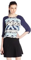 BCBGMAXAZRIA Women's Andie Printed Top with Draped Back