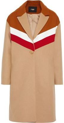 Maje Gorel Color-block Wool And Cashmere-blend Coat