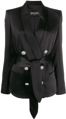 Balmain Satin Belted Blazer