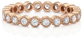 Dominique Cohen 18k Rose Gold Diamond Milgrain Stacking Ring (Large), Size 7